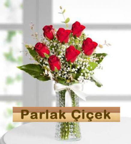 istoç Çiçekçi Vazoda Kırmızı Gül