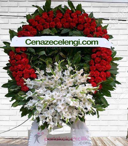 Cenaze Çelengi Kırmızı Beyaz Teşvikiye