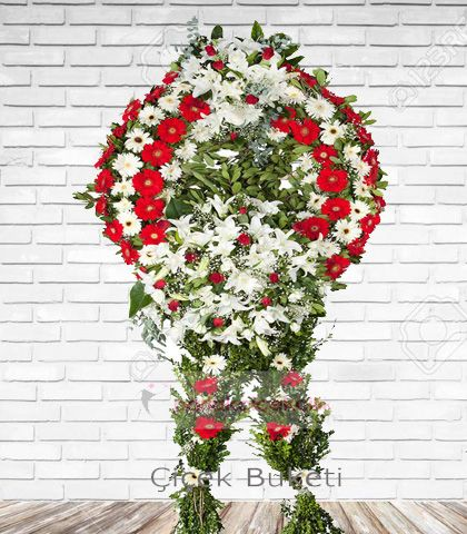Cenaze Çelengi Kırmızı Beyaz Fatih 2
