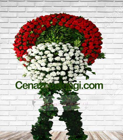 Cenaze Çelengi Kırmızı Beyaz Fatih 3