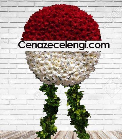 Cenaze Çelengi Kırmızı Beyaz Zincirlikuyu
