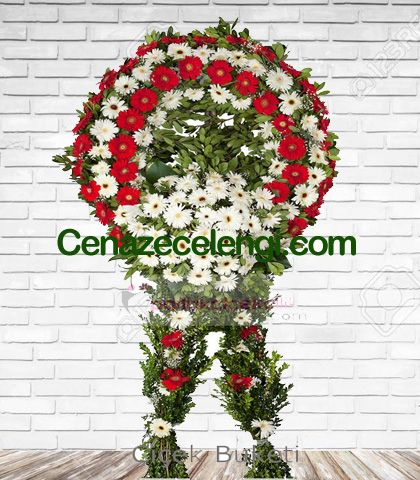 Cenaze Çelengi Kırmızı Beyaz Levent